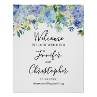 Blue Watercolor Floral Wedding Welcome Sign