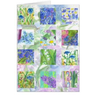 Blue Watercolor Flower Collage Blank Note Card