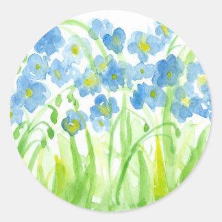 Blue Watercolor Flower Garden Pastel Classic Round Sticker