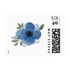 Blue Watercolor Flower Postage at Zazzle
