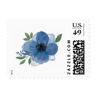 Blue Watercolor Flower Postage Stamp