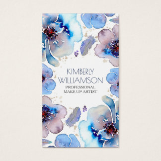 Blue Watercolor Flowers Boho Feathers Wreath Business Card