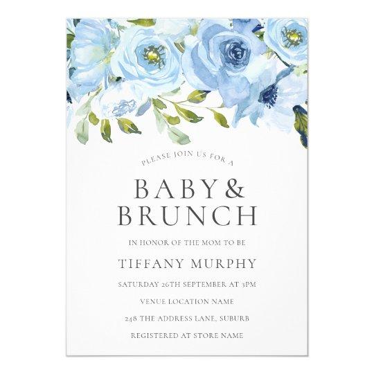 Blue Watercolor Flowers Boys Baby Shower Brunch Invitation