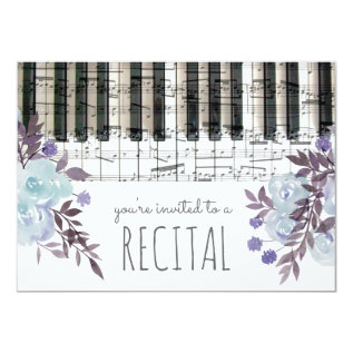 Blue Watercolor Flowers Music Recital Card at Zazzle
