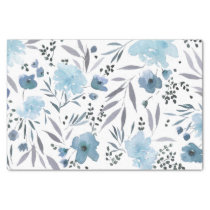 blue watercolor flowers pattern tissue paper