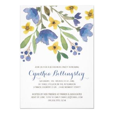 retirements Blue Watercolor Flowers | Retirement Party Card