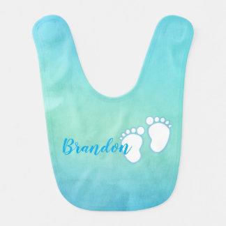 Blue Watercolor Footprint Little Baby Feet Name Baby Bib