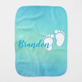 Blue Watercolor Footprint Little Baby Feet Name Burp Cloth