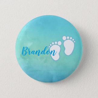 Blue Watercolor Footprint Little Baby Feet Name Button