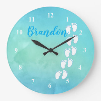 Blue Watercolor Footprint Little Baby Feet Name Large Clock