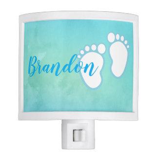 Blue Watercolor Footprint Little Baby Feet Name Night Light