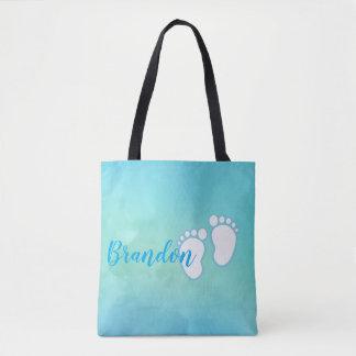 Blue Watercolor Footprint Little Baby Feet Name Tote Bag