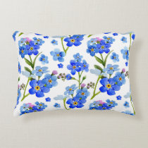 Blue Watercolor Forget-me-not Flowers Accent Pillow