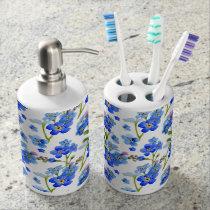 Blue Watercolor Forget-me-not Flowers Bath Set