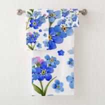 Blue Watercolor Forget-me-not Flowers Bath Towel Set