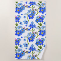 Blue Watercolor Forget-me-not Flowers Beach Towel