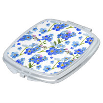 Blue Watercolor Forget-me-not Flowers Compact Mirror