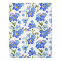 Blue Watercolor Forget-me-not Flowers Duvet Cover