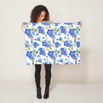 Blue Watercolor Forget-me-not Flowers Fleece Blanket