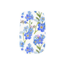 Blue Watercolor Forget-me-not Flowers Minx Nail Art