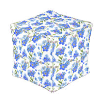 Blue Watercolor Forget-me-not Flowers Outdoor Pouf
