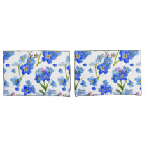 Blue Watercolor Forget-me-not Flowers Pillow Case
