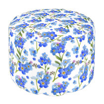 Blue Watercolor Forget-me-not Flowers Pouf