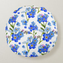 Blue Watercolor Forget-me-not Flowers Round Pillow