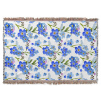 Blue Watercolor Forget-me-not Flowers Throw