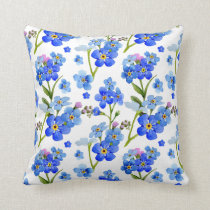 Blue Watercolor Forget-me-not Flowers Throw Pillow