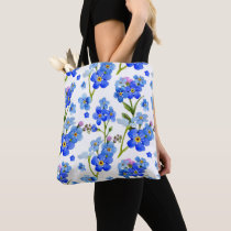 Blue Watercolor Forget-me-not Flowers Tote Bag