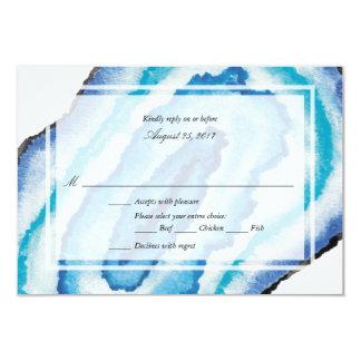 Blue Watercolor Geodes Wedding RSVP Card