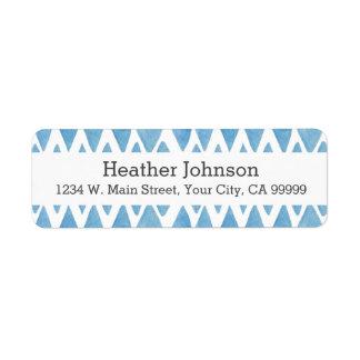 Blue Watercolor Geometric Pattern Chevron Label