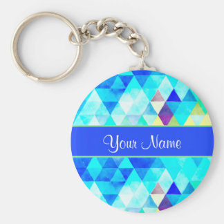 Blue Watercolor Geometric Triangles Keychain