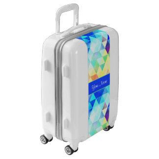 Blue Watercolor Geometric Triangles Luggage
