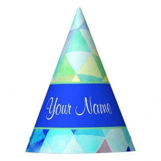 Blue Watercolor Geometric Triangles Party Hat