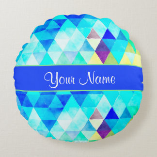 Blue Watercolor Geometric Triangles Round Pillow