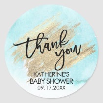 Blue Watercolor Gold Brush Stroke Baby Shower Classic Round Sticker