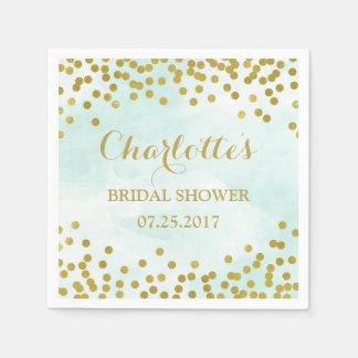 Blue Watercolor Gold Confetti Bridal Shower Napkin