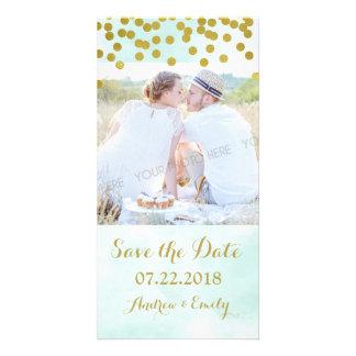 Blue Watercolor Gold Confetti Save the Date Card