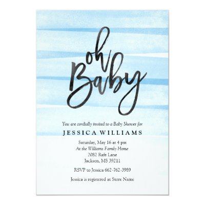 oh baby blue stripes baby shower invite | zazzle, Baby shower invitations