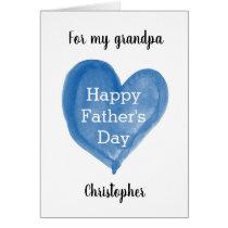 Blue Watercolor Heart Happy Father's Day Grandpa
