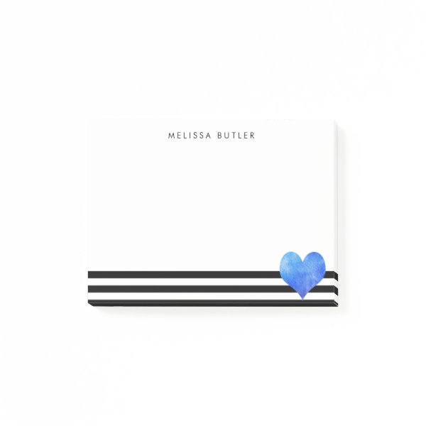 Blue Watercolor Heart on Black and White Stripe Post-it Notes
