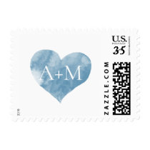 blue watercolor heart with bride groom initials postage