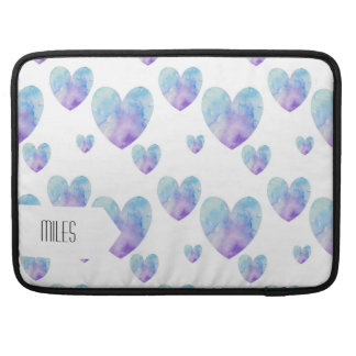 Blue Watercolor Hearts Pattern Sleeve For MacBooks