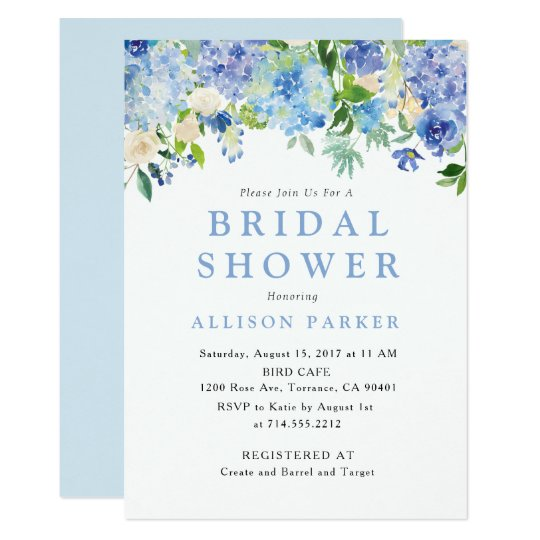 Blue Watercolor hydrangea Bridal Shower Invitation ...