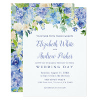 Blue Watercolor hydrangea Floral Wedding Card