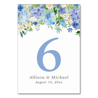 Blue Watercolor hydrangea Table Numbers