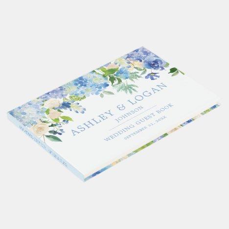 Blue Watercolor hydrangea Wedding Guest Book