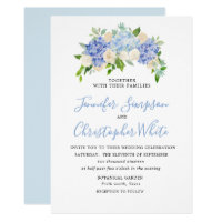 Blue Watercolor Hydrangea Wedding Invitation Cards